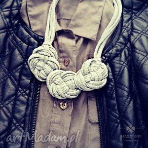 oryginalny prezent, bead story halina, bawełna, natura, metal biżuteria