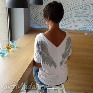 bluzka skrzydła white angel, skrzydła, bluzka, anioł, onesize, rękaw, malowanka