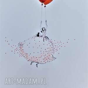 Grafika akwarelą i piórkiem Latam sobie , grafika, rysunek, kobieta, balon