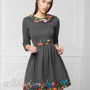 sukienka w stylu folk grafit, dresowa, dzianina, rozkloszowana, folk, grafit
