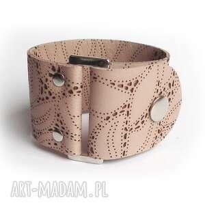 bransoletki bransoleta skórzana pudrowa buckle, pudrowa, nude