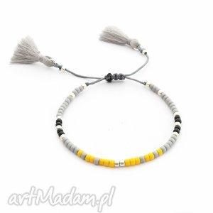 bransoletka minimal - yellow and gray, bransoletka, handmade, koralikowa, chwost