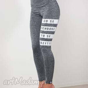 legginsy sportowe szare melanżowe z nadrukiem na siłownie fitness