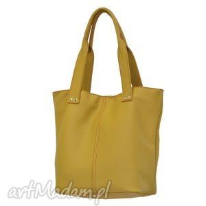 31-0002 żółta torebka ze skóry naturalnej efektowne przeszycia skylark, markowe