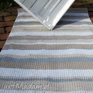 zmiksowany prostokątny dywan, sznurek, handmade, bawełna, druty dywany dom