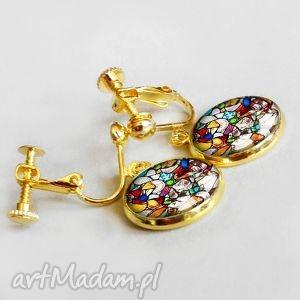 klipsy mosaic - szkło z grafiką w oprawie koloru zlotego, złoty, pozłacane