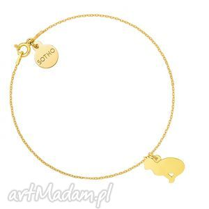 złota bransoletka z kotem, bransoletka, kot, kotek, złota, pozłacana, łancuszek