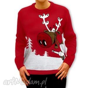 sweter świąteczny - unisex ulatany renifer s, m, l, xl, xxl , sweter, święta