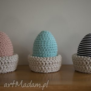 Jaka warkocze, jajka, wielkanoc, sznurek, handmade, szydełko, dekoracja