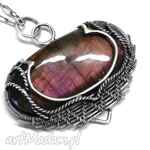 dellay - wisior, srebro, labradoryt, fiioletowy, kamień, biżuteria