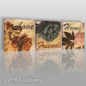 obraz na płótnie - napisy vintage 3x40x40 cm 04901 , napisy, vintage, kwiaty, love