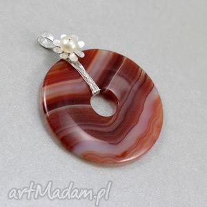 agat brązowy perła i srebro - wisior, agat, donut, srebro, oplot wisiorki