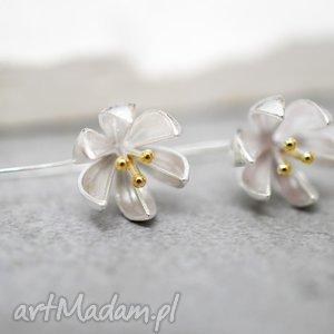925 srebrne kolczyki kwiaty, kwiat, lilje, srebro, srebrny, elegancja