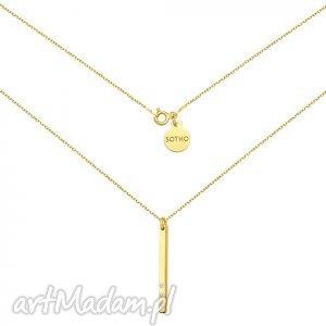 złoty naszyjnik z blaszką i kryształkami swarovski crystal, modny, naszyjnik, srebro