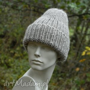 czapki 100 wool unisex beżowa wywijana czapa, wywijana, regulowana, ciepła