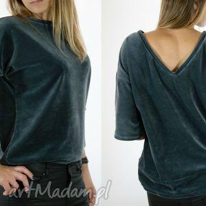bluzki welurowa bluzka - szara, welur, velvet, grafitowa, świąteczny prezent