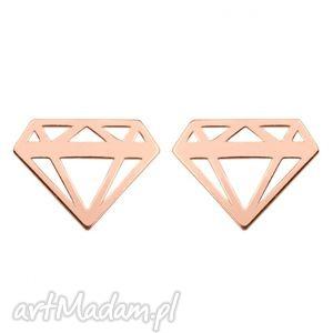 kolczyki diamenty z różowego złota, kolczyki, sztyfty, modne, kobiece