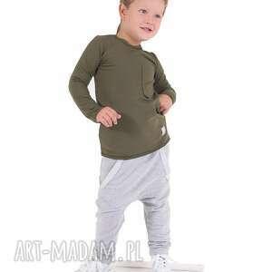 Spodnie szare z dużą kieszonką kangurką, bawełna, handmade, jesień, spodnie,