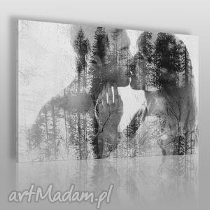 obraz na płótnie - pocałunek miłość 120x80 cm 43401 , pocałunek, para