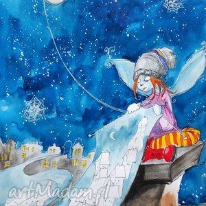 Grafika akwarelą i piórkiem Księżycowa robótka artystki Adriany Laube, szalik, elf