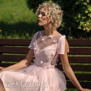 sukienka tiulowa z koronką 3d rz, tiulowa, koronka, rozkloszowana, mini, wesele