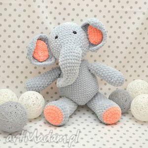 szydełkowy słonik buniek - słoń, słonik, maskotka, szydełkowa