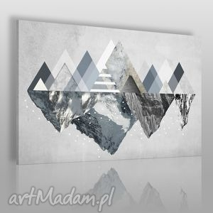 obraz na płótnie - góry zima 120x80 cm 42901 , góry, trójkąty, geometryczny