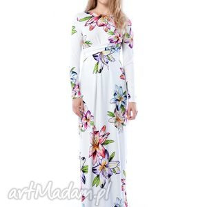 sukienki cristina maxi hypnotic lily, nadruk, lilie, suknia, długa, ślubna ubrania