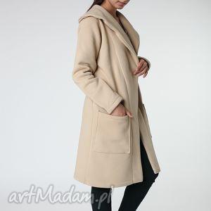 płaszcz z ciepłym kołnierzem beżowy s-m 36 38, płaszcz, beżowy, ciepły, długi