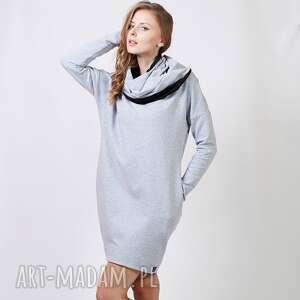 shawl sukienka dresowa z kominem, sukienka, dresowa, komin, dzianina, bawełna