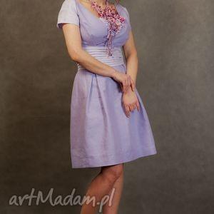 lniana wrzosowa sukienka - lniana, sukienka, wrzosowa, różowa, len, natura