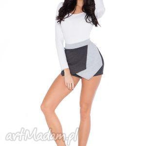 spodnie spodenki k_1 ciemnoszry jasnoszary, spodenki, spódnicospodnie, wygodne
