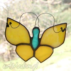 błystek limonek, witraż, motyl, zawieszka, unikalny prezent