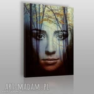obraz na płótnie - kobieta twarz las 50x70 cm 09101 , kobieta, twarz, dekoracja