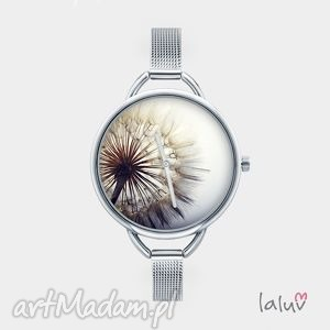 zegarek z grafiką dmuchawiec, mlecz, wiosna, kwiat, kwiaty, słońce, wiatr biżuteria