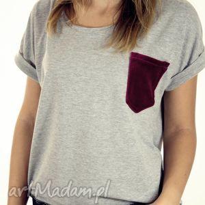 bluzka oversize z welurową kieszonką, welur, koszulka, bluzka, oversize, luźna
