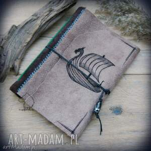 notes a5 ze skórzaną miękką okładką drakkar - ręcznie robiony i malowany, wiking