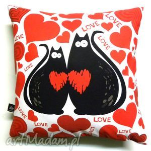 poduszki poduszka dla zakochanych, poduszka, koty, walentynki dom