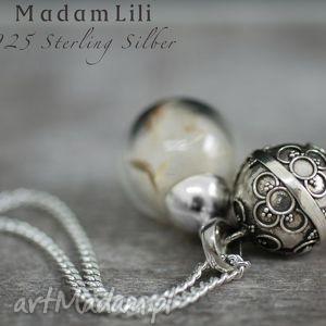 925 srebrny dzwoneczek prawdziwe nasiona dmuchawca , srebro, 925, dmuchawiec