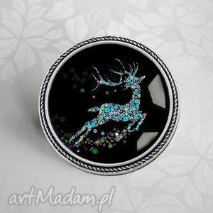zaczarowany renifer - broszka, pin, przypinka, stylowa, prezent, swiąteczny
