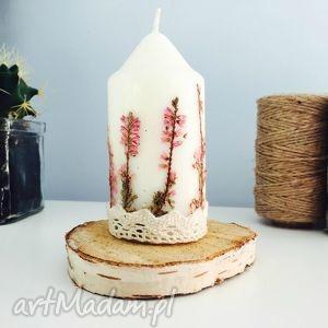 świeczka z wrzosem leśnym, świeca, świeczka, wrzos, suszone, kwiaty, vintage dom