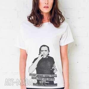 bukowski portrait oversize t-shirt, oversize, tshirt, biały, casual, bawełna, moda