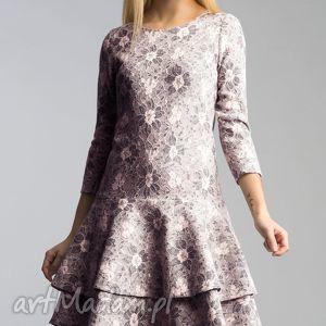 święta prezent, sukienka lady midi shanon, falbana, koronka, granat, mieciutka