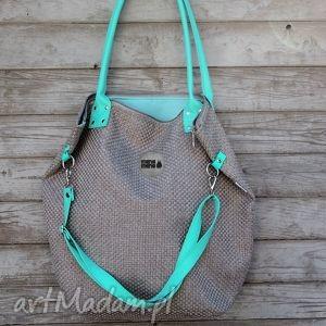 na ramię torba worek aqua cloud, xxl, plecione, worek, torba, handmade, gdynia
