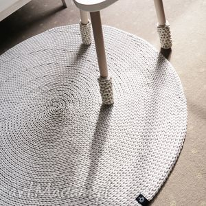 Okrągły dywan z bawełnianego sznurka 100 cm , chodnik, rękodzieło, szydełkowy