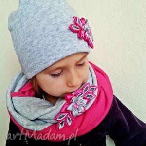 kominy kompet dla dziewczynki czapka z szalikiem, czapka, czapki, szalik, szaliki