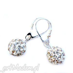 kolczyki srebrne 925 z kulami shamballa swarovski crystal , shamballa
