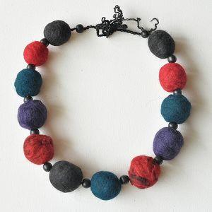 korale z filcu - korale, filc, biżuteria, handmade