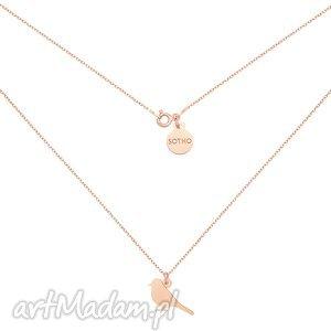 naszyjnik ze słowikiem z różowego złota, naszyjnik, słowik, ptak, ptaszek, łancuszek