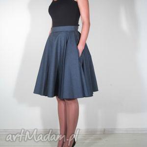 spódnica jeans midi z kieszeniami, spódnica, koło, kieszenie, midi, elegancka